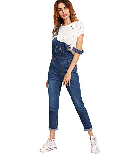 Verdusa Women's Classic Denim Bib Strap Ripped Pocket Overall Blue M ()