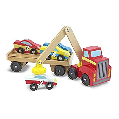 Melissa & Doug Magnetic Car Loader Wooden Toy Set, The Original (Cars & Trucks, 4 Cars and 1 Semi-Trailer Truck, Great Gift for Girls and Boys - Kids Toy Best for 3, 4, 5, and 6 Year Olds): Melissa & Doug: Toys & Games