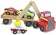 Melissa & Doug Magnetic Car Loader Wooden Toy Set, Cars & Trucks, Helps Develop Motor Skills, 4 Cars a