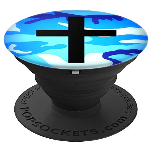 Cross Pop Socket, Jesus & Blue Camo Christian Phone Holder - PopSockets Grip and Stand for Phones and Tablets