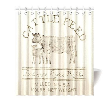 KELLYArtStore Cattle Feed Shower Curtain Custom Printed 72-72inch by KELLYArtStore