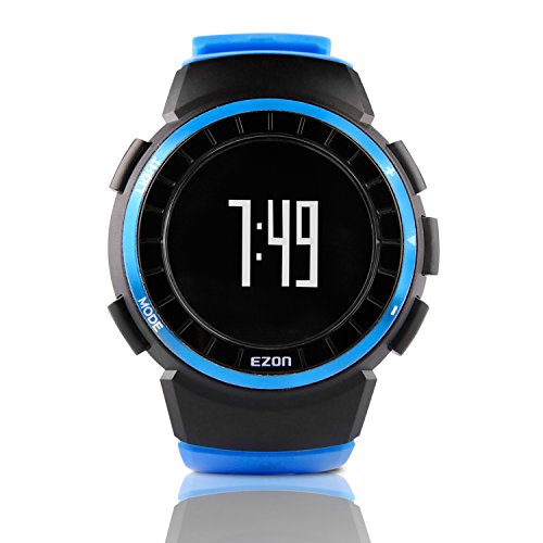 Stopwatch Pedometer (EZON T029B07 Outdoor Sports Running Fitness Digital Watch with Pedometer Calories Burned Stopwatch Wristwatch Unisex)