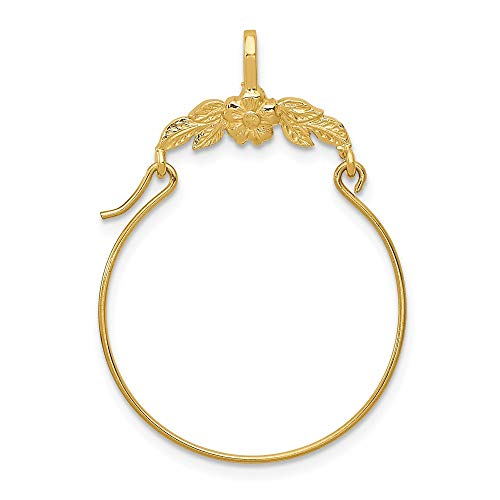 14k Yellow Gold Floral Pendant Charm Necklace Holder Fine Jewelry Gifts For Women For Her