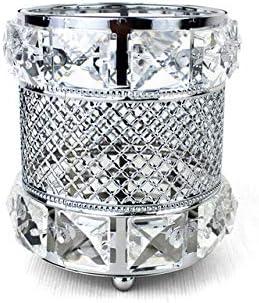 Anruo Make-up-Pinselhalter, Aufbewahrungsbox, goldfarbener Kristall, Make-up-Pinsel, Stifthalter, Kerzenhalter, Aufbewahrungsbox silber