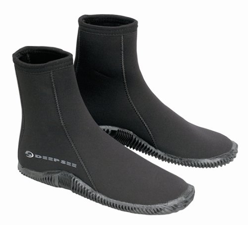Deep See 6.5mm EchoZip Boots, Scuba Diving or Snorkeling Dive Booties ()