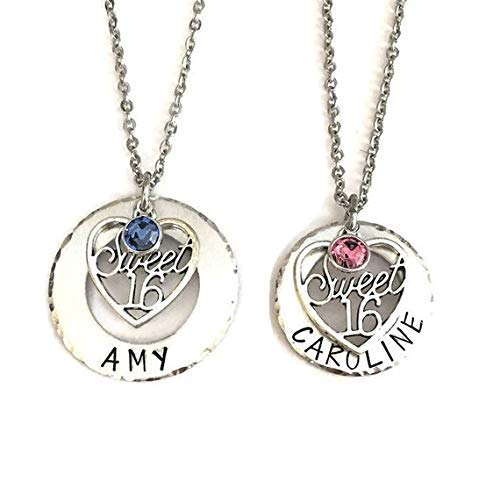 Sweet 16 necklace - birthstone necklace - personalized - handstamped - 16th ()
