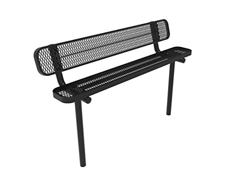 Coated Outdoor Furniture B6WBI-BLK Park Bench Back, 6 Feet, Black