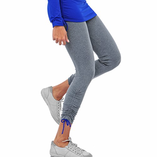 - FeelFitWear Premium High Performance Essential Women's Yoga Leggings Pants, Running Tights (Gray/Royal Blue, Large)