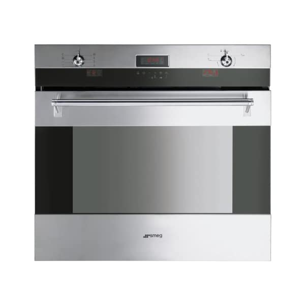 """Smeg SOU330X 30"""" Classic Series Single Electric Wall Oven with 4.34 cu. ft Convection Oven Self-Clean Multiple Cooking Functions Sabbath Mode Telescopic Racks and Meat Probe in Stainless 1"""