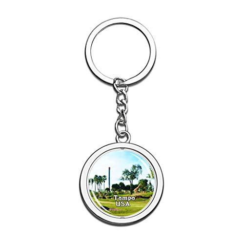 USA United States Keychain Busch Gardens Tampa Key Chain 3D Crystal Spinning Round Stainless Steel Keychains Travel City Souvenirs Key Chain -
