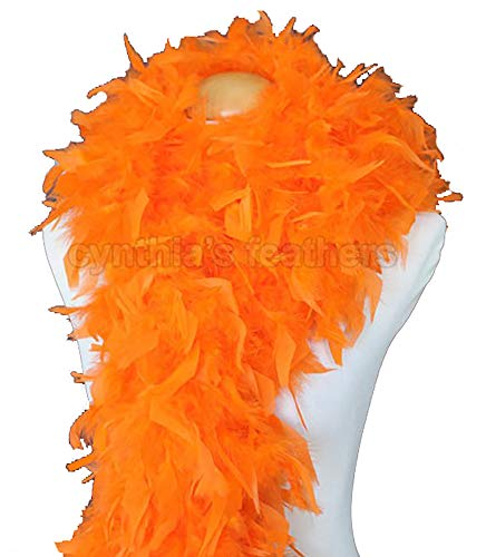 Cynthia's Feathers 80g Turkey Chandelle Feather Boas over 30 Color & Patterns (Orange)