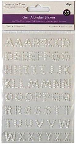 CraftbuddyUS 56pcs SeIf Adhesive Ivory Pearl Stick on Gem Letters Abc Alphabet