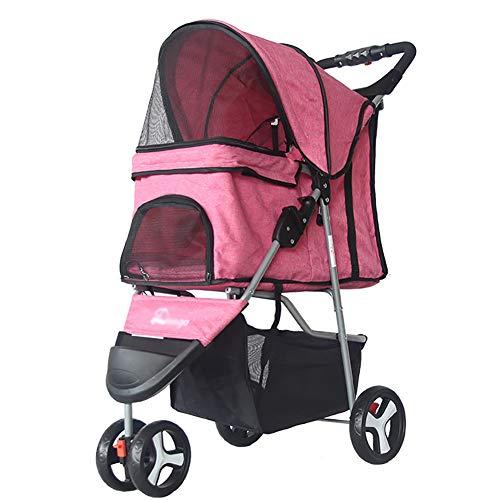 Linen Awning Solid (Pet Supplies YXGH Pet Stroller Dog Cart Folding 3-Wheeled Pet Car Lightweight Teddy Dog Trolley Linen Cover Travel Goods Gear (Color : Pink))