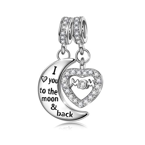 NINAQUEEN I Love You to The Moon and Back 925 Sterling Silver Dangle Charm Beads fit Pandöra Charms Bracelet Necklace Jewelry Birthday Anniversary Valentines Gifts for Mom Girlfriend Niece Teachers ()