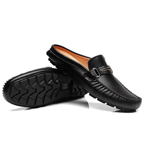 Go Tour Heren Muilezels Klomp Slippers Ademend Ponsen Lederen Instappers Casual Loafers 2 Zwart