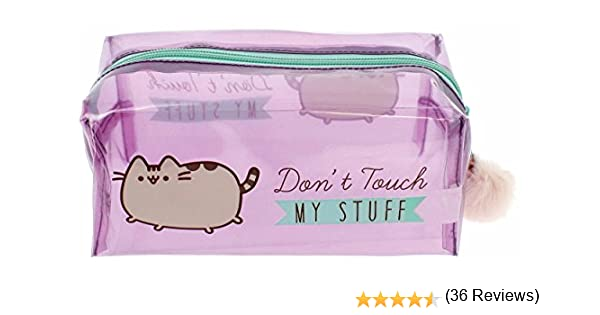 Estuche oficial de Pusheen con texto en inglés: Dont Touch My Stuff con pompón rosa: Amazon.es: Oficina y papelería