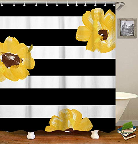 Livilan Waterproof Fabric Shower Curtain Set 70.8'' x 70.8'' Yellows Flower & Black White Stripes Pattern Decorative Thick Bathroom Curtain by Livilan