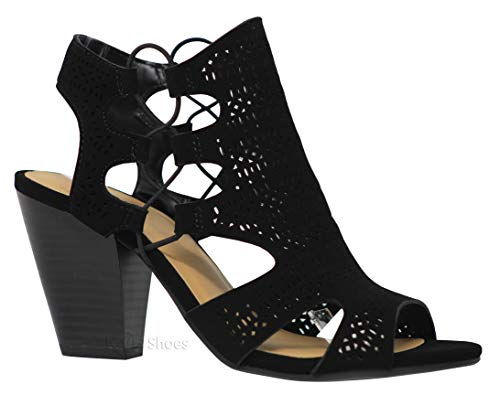 7e8a51c803ac MVE Shoes Open Toe Perforated Lace up Elastic Side Stacked Chunky Heel  Sandal