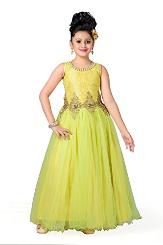 Aarika Girl's Party Wear Ball Gown (2019-GREEN_34_10-11 Years) by Aarika