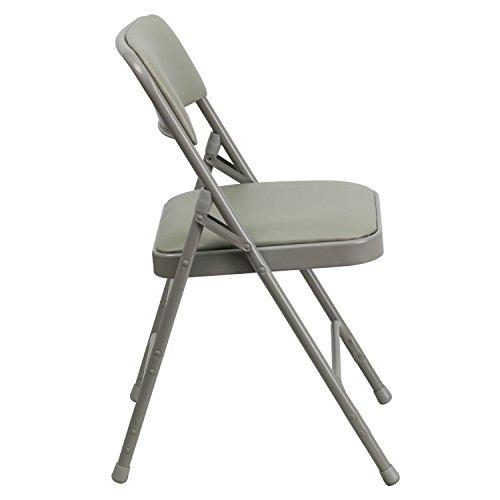4 Pack Beige Vinyl Folding Chairs, Metal Frame