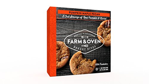 Farm & Oven Pumpkin Maple Pecan – 3 Bakery Bites Per Pack, 5 Packs Per Box - 40% of Your Daily Vegetables Snack - High Fiber Snacks - Non-GMO - Dense, Chewy