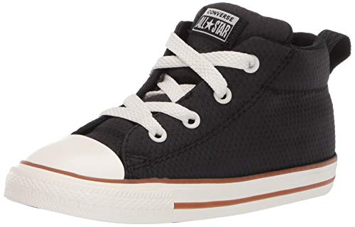 Converse Boys Infants' Chuck Taylor All Star Street Pinstripe Mid Top Sneaker, Black/Gum/Egret 7 M US Toddler -