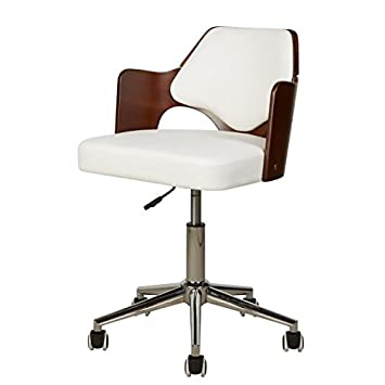 Kiruna Chaise De Bureau En Simili Blanc Accoudoirs Bois Style