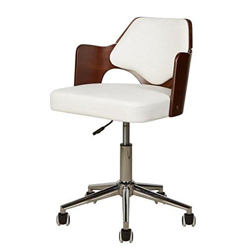 Gé né rique Kiruna Chaise de Bureau en Simili Blanc - Accoudoirs Bois - Style Vintage - L 49 x P 51 cm AUCUNE