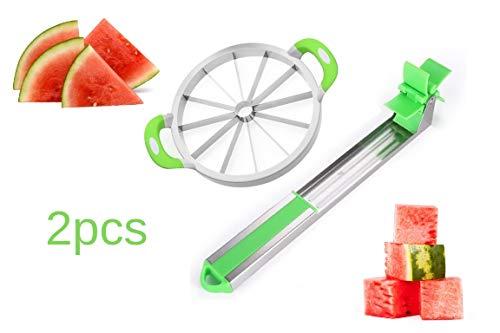 Watermelon Slicer Set, stainless steel Cantaloupe Melon Cutter EASY GRIP SLICER CORER WINDMILL CUTTER