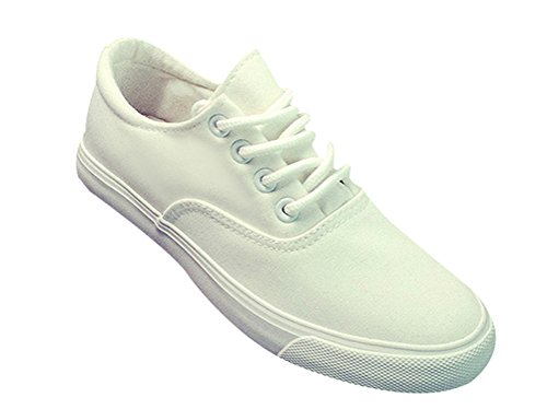 T & Mates Mujeres Classic Pure Color Cordones Cordones Zapatillas De Deporte Planas De Corte Bajo Transpirable Blanco