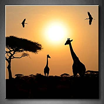 Amazon.com: First Wall Art - Animal Silhouettes Over Sunset In ...