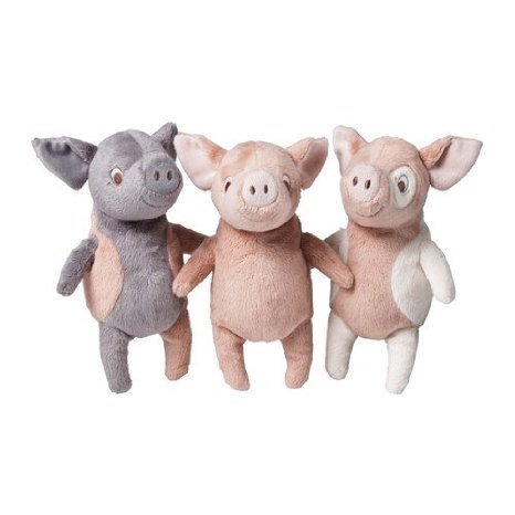 Ikea Kelgris 3 Little Pigs Soft Plush Toy Bundle -