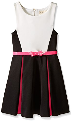 BTween Big Girls' Colorblock Techno Dress with Pop Of Color Pleats and Belt, Black/Ivory/Fuchsia, 7