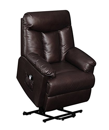 lya modern brown renu leather power recline and lift wall hugger chair