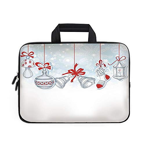 (Christmas Decorations Laptop Carrying Bag Sleeve,Neoprene Sleeve Case/Retro Style Famous Socks for Toy and Candy Bells and Snowflake Graphic/for Apple Macbook Air Samsung Google Acer HP DELL Lenovo As )