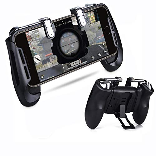 Game Controller Grip Holder - HagieNu Upgraded Mobile Game Controller Phone Grip Holder with Fir Aim Triggers for PUBG/Fornite/Knives Out/Rules of Survival Compatible with 4.5-6.5inch Phones