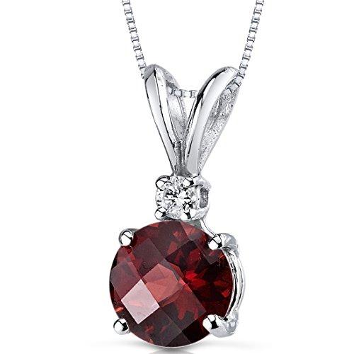 (14 Karat White Gold Round Cut 1.50 Carats Garnet Diamond Pendant)