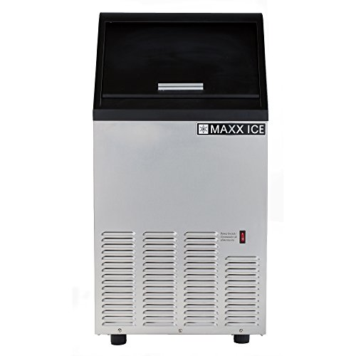 Maxx Ice MIM75 17'' Self Contained Ice Maker with up to 95 lb Daily Ice Production Stainless Steel Exterior Air-Cooled Condenser and Built-In Capable in Stainless by Maxx Ice
