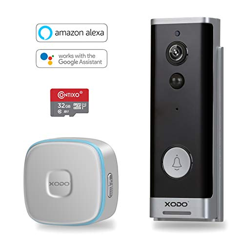 XODO VD1 Smart Home WiFi Wireless 1080P Smart Security Camera Video Doorbell with 2-Way Audio, Real-Time Alerts, Weather Proof DIY Security Install Setup, Works with Alexa and Google Home Assistant