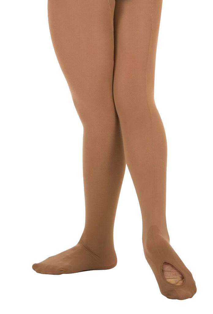 Body Wrappers Angelo Luzio Youth Girls Convertible Mesh Backseam Tights-Dark Nude-8/10