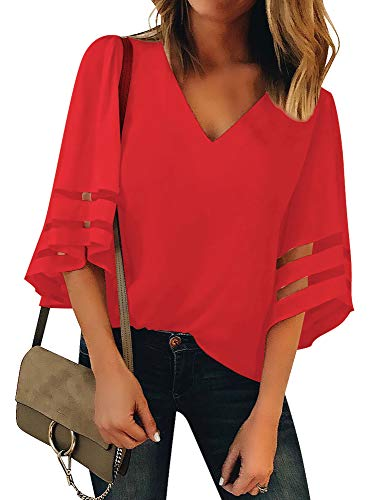 (Lookbook Store Women's Red V Neck Casual Mesh Panel Blouse 3/4 Bell Sleeve Solid Color Loose Top Shirt Size L(US 12-14))