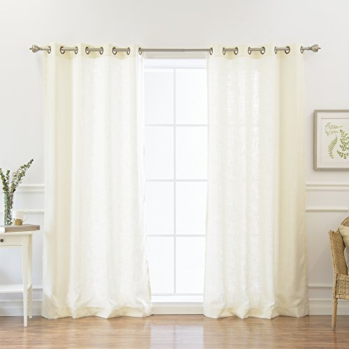 Best Home Fashion Natural Flax Faux Linen Curtains - Antique Bronze Grommet Top - Natural Flax - 52