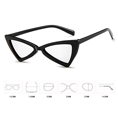 retro triángulo de a intensivas Gafas de reflejos MOD Gafas Blanco gato de sol Style Negro de tipo prueba Hzjundasi la ojo personalidad no wRxFq