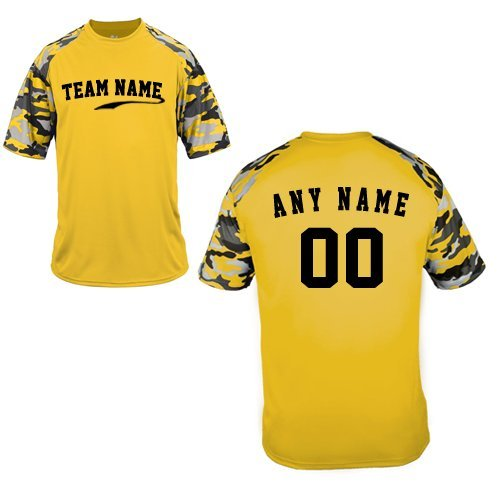 - Custom (Any Team Name Front and/or Name/# on Back) Gold Camo Adult 2X Sleeve Wicking Jersey Uniform Shirt