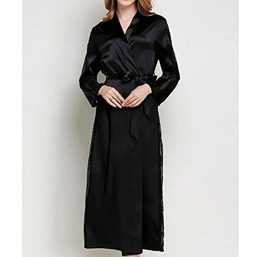 HXQ Vestido de Kimono para mujer Vestido de dama de honor con traje de baño de encaje Vestido de Spa , champagne Black
