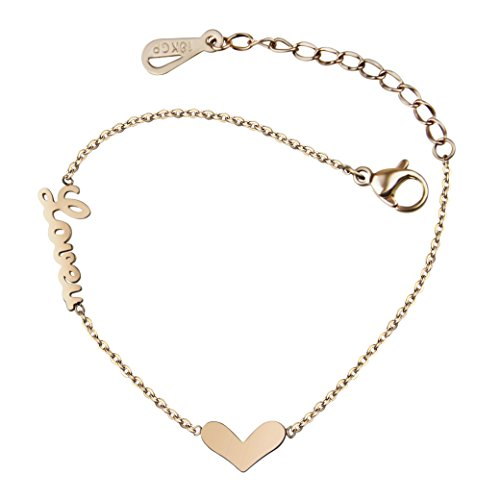 18K Rose Gold Love Heart Charm Bar Bangle Bracelet Link Chain Anklet Fashion Beach Foot Sandal Jewelry Ankle Bracelet for Womens Birthday / Valentines / Mothers / Anniversary / Christmas Day Gift
