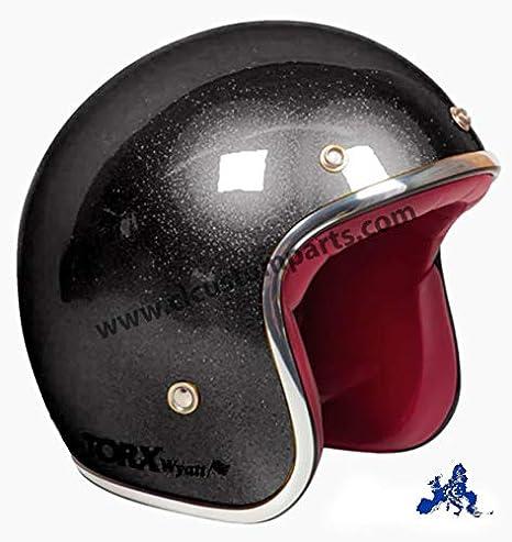 Vintage Casque Jet Torx Wyatt Glitter Black Noir Flake homologu/é Biker Custom XS Nero Glitter