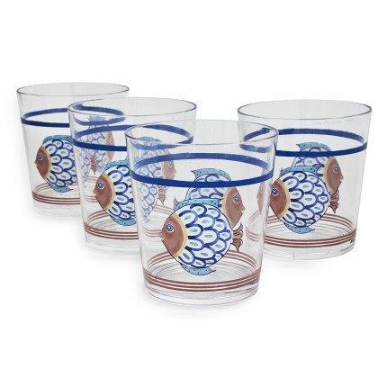 Sur La Table Acrylic Positano Fish Double Old Fashioned Glasses, Set of 4