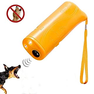 Handheld Dog Repellent Ultrasonic, Indoor Outdoor Powerful Bark Deterrent with LED Flash Light, Electric Sonic Anti Barking Control Device - Human Safe