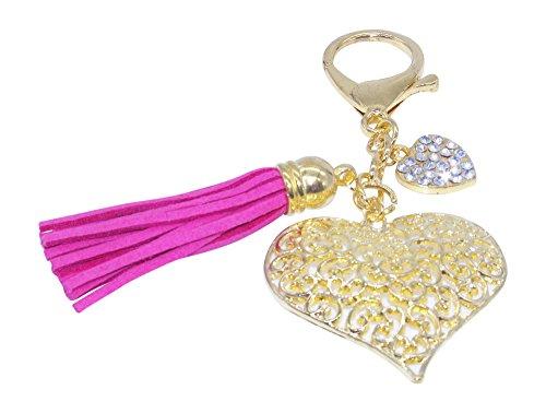 Heart Tassel Key Chain With Sparkling Rhinestones Key Chain for Purse or Handbag or Cell Phone Pendant Charm